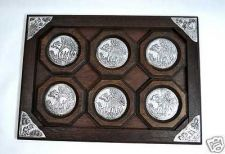 Buy THAI HANDMADE ELEPHANT SET OF 6 PCS BROWN WOOD COASTERS SAUCER WITH DINNING