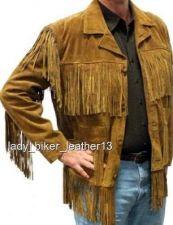 Buy Mens BOHO HIPPIE Biker SOFT Brown SUEDE Leather WESTERN FRINGE Motorcycle Jacket