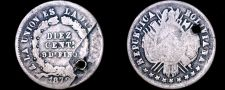 Buy 1872-PTS FE Bolivian 10 Centavo World Silver Coin - Bolivia - Holed