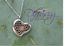 Buy Heart Flower Diffusing Mama's Brand Essential Oils Aromatherapy Locket Necklace