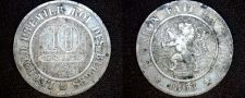 Buy 1863 Belgium 10 Centimes World Coin