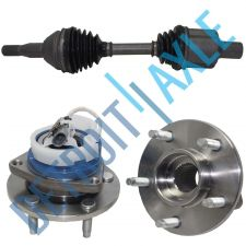 Buy Complete Front CV Drive Axle Half Shaft + 2 Complete Wheel Hub Bearing Assembly