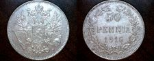 Buy 1916-S Finland 50 Pennia World Silver Coin Russian Admin