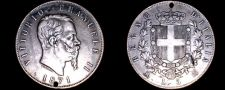 Buy 1871-M BN Italian 5 Lire World Silver Coin - Italy - Holed