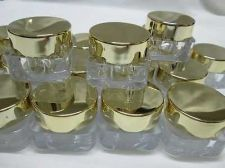 Buy 10 g Empty Cosmetic Cream Acrylic Plastic Jars Pot Bottle Gold Caps Travel 50