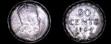Buy 1904-H Newfoundland Canada 20 Cent World Silver Coin - Hammered Edge