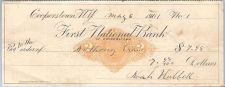 Buy New York Cooperstown Cancelled Check First National Bank of Cooperstown Ch~34