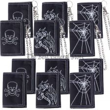 Buy Wholesale Lot of 12pc Mens Tri-Fold Embroidered Wallets Chained and Unchained