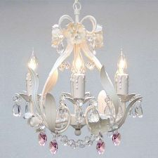 Buy NEW Mini 4-light PINK Floral Crystal Chandelier Ceiling Lamp Bedroom Girl Chic