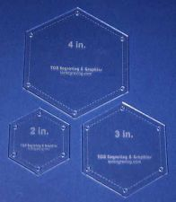 "Buy 3 Piece Set Quilt Hexagons 1/8"" 2"", 3"", 4"" with Guideline Holes"