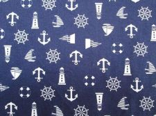 Buy Pirate Anchor Sailboat Nautical,Navy Blue Cotton Fabric 2 Fat Q 50 x 100 cm.44""