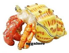 Buy Collectible RUCINNI Swarovski Crystals BeJeweled HERMIT CRAB Trinket Jewelry BOX