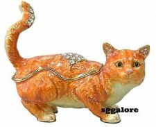 Buy Collectible RUCINNI Swarovski Crystals BeJeweled CAT Trinket Jewelry BOX CATS