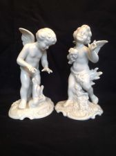 Buy Pair of DRESDEN Porcelain Blanc de Chine Cherubs, Angels,