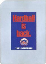 Buy New York Queens Sport Baseball 1992 NY Mets Schedule Hardball Is Back spor~184