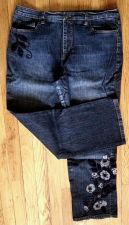 Buy TALBOTS Boot cut Stretch JEANS 99% Cotton Embroidery Lace Sequins -Women's 12 P