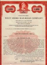 Buy New York New York City Stock Certificate Company: West Shore Railroad Comp~101