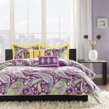Buy QUEEN 5-pc Purple Yellow Paisley Comforter Set Moroccan Medallion Boho Floral
