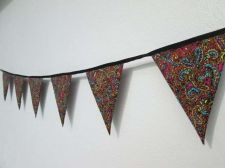 Buy Paisley Multi Color,Black Mini Fabric Bunting Double Sided Banner 100 cm 39 inch