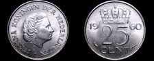 Buy 1960 Netherlands 25 Cent World Coin