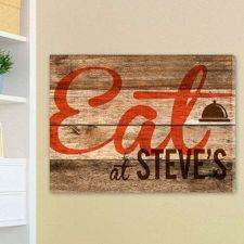 "Buy 18""x24"" Canvas - Wood Restaurant Sign Canvas Print - Free Personalization"