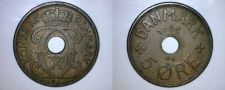Buy 1934 N-GJ Danish 5 Ore World Coin - Denmark