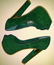 Buy NWB Beau+Ashe PUMPS High Heels GREEN Suede Platform Open Toe-Women's Size 8 B, M
