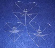 "Buy Laser Cut Quilt Templates - 1/8"" Acrylic-Clear - 3 piece Heart Set w/guidelines"