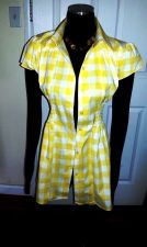 Buy NEW Career Shirt 100% Cotton Short Sleeve Yellow plaid by *Mega Wear*-Women's L