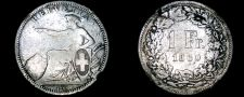Buy 1860-B Swiss 1 Franc World Silver Coin - Switzerland - Mount Removed