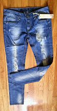Buy PUZZLE Stretch DISTRESSED Blue 99% Cotton Skinny LOW JEANS, Juniors Sz 9-10 NWT