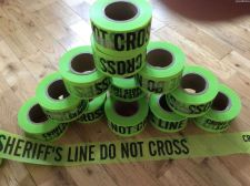 "Buy Three pack - Sheriff's Line Do Not Cross"" Lime Green FLAGGING Tape 3"" x 500ft"