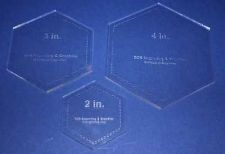 "Buy Laser Cut Quilt Templates- 3 Piece Hexagon - 2"", 3"", 4"" Clear Acrylic 1/8"""