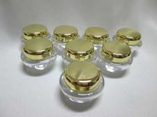 Buy 25 EMPTY ACRYLIC PLASTIC JARS POT GOLD CAPS Cosmetic Cream Container Bottles 5g