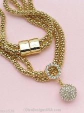 Buy NEW 24k NECKLACE GOLD LAYERED GEM BALL PENDANT ON DOUBLE MESH 18 INCH GOLD CHAIN