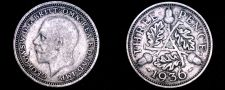 Buy 1936 Great Britain 3 Pence World Silver Coin - UK