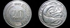 Buy 1967 Singapore 20 Cent World Coin - Swordfish