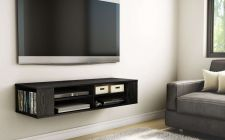 Buy TV Black Media Floating Entertainment Center Shelf Cabinet Office Wall Storage