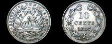Buy 1887-H Nicaragua 10 Centavo World Silver Coin