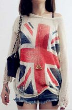Buy UK Flag Hollow Out Loose Knitting Sweater/Pullover [00626]