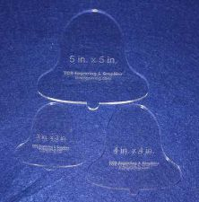 """Buy 3 Piece Holiday Bell Set Templates ~1/4"""" Thick Acrylic Long Arm / Hand /Quilt"""