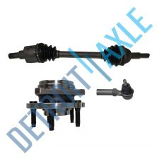 Buy Front Passenger CV Axle Shaft + NEW Tie Rod + NEW Wheel Hub and Bearing Assembly