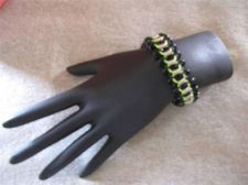 "Buy Womens Black, Green & Silver tone intertwined Bracelet 6 1//4"" to 7 3/4"" # 54"