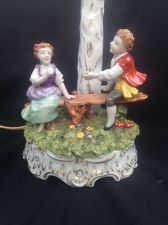 Buy antique porcelain. Capodimonte / napels lampfoot . Marked