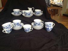 Buy 10 tassen mit untertassen Tirschenreuth Echt Cobalt Unterglasur Zwiebelmuster