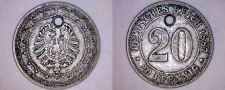 Buy 1887-D German Empire 20 Pfennig World Coin - Germany - Holed