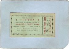 Buy New York Coney Island Amusement Park Ephemera Coupon Balzano's Penny Game ~484
