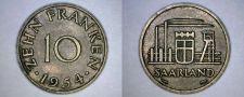 Buy 1954 Saarland 10 Franken World Coin