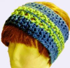 Buy Headband earwarmers crocheted acrylic in Blue & green, Red, Green, Blue & Brown