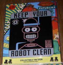 Buy Futurama Bender Cubicle Tin Sign Keep Your Robot Clean